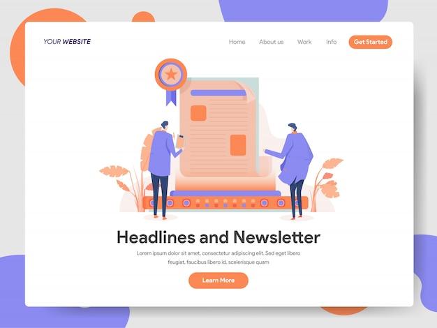 Headlines and newsletter illustration