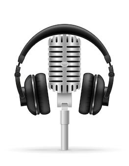 Наушники и микрофон для радиостудии иллюстрации, изолированные на белом фоне