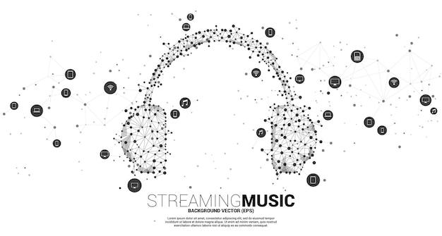 Наушники из точки соединяют многоугольник линии и значок мобильного устройства. концепция цифровой и потоковой музыки.