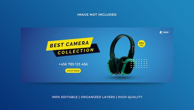 Headphone gadgets facebook cover design template