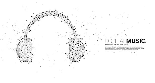 Значок наушников с точкой подключения многоугольника линии. концепция цифровой и потоковой музыки.
