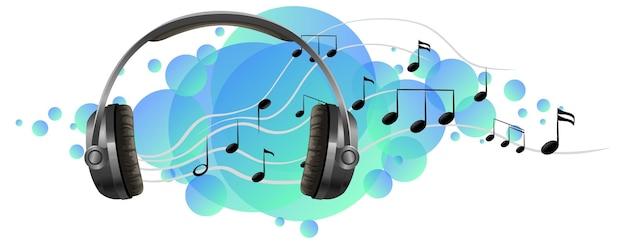 파란색 얼룩에 음악 멜로디가 있는 헤드폰 청취 장치