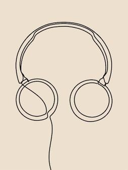 Headphone oneline continuous line art