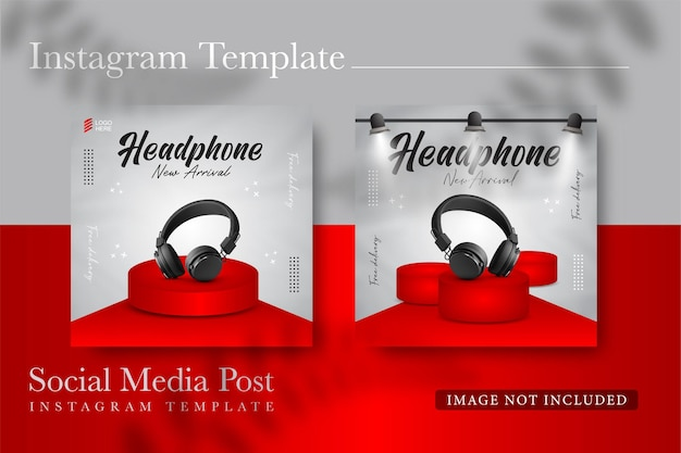 Headphone product social media promotion and banner post template Premium Vector