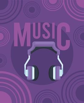 ヘッドフォン紫のポスター