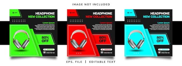헤드폰 판매 소셜 미디어 프로모션 및 인스타그램 배너 포스트 템플릿 디자인