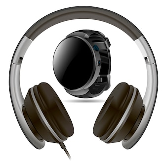 Headphone and smart watch isolated.  blank