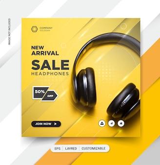 Headphone social media post template design