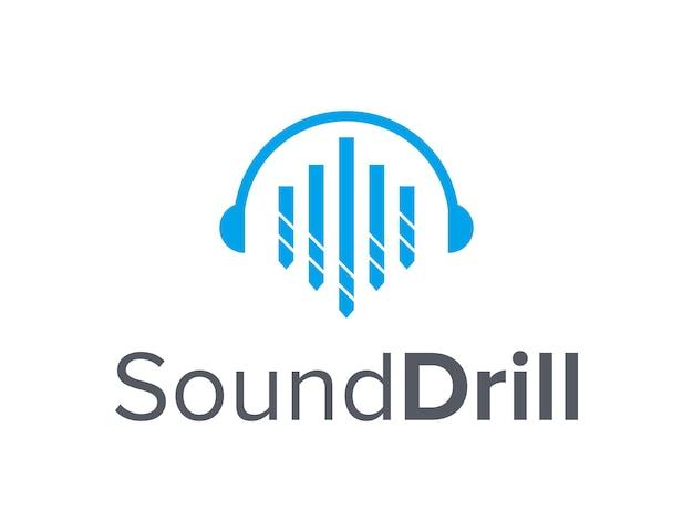 드릴 단순하고 독창적 인 기하학적 세련된 현대적인 로고 디자인이있는 헤드폰 사운드