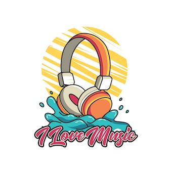 Headphone with letter for t shirt