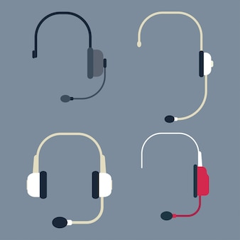 Headphone with microphone flat set isolated on background.
