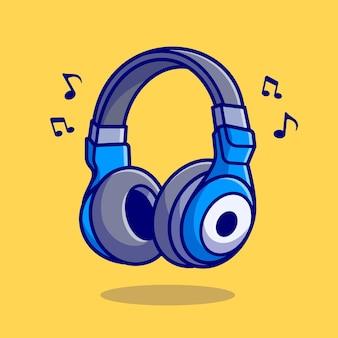 음악 노트 만화 벡터 아이콘 일러스트와 함께 헤드폰입니다. 레크리에이션 기술 아이콘 개념 절연 프리미엄 벡터입니다. 플랫 만화 스타일