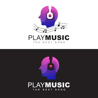 Headphone with people play music logo concept. playing best music logo. music man human head logo design   template