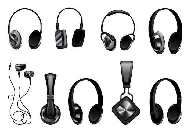 ヘッドフォン。黒の音楽イヤホンまたはゲーム用ヘッドセット。スピーカー付きのオーディオガジェット、ワイヤレスモバイルイヤフォンは3dベクトル画像を分離しました。テクノロジースタジオアクセサリーセット。