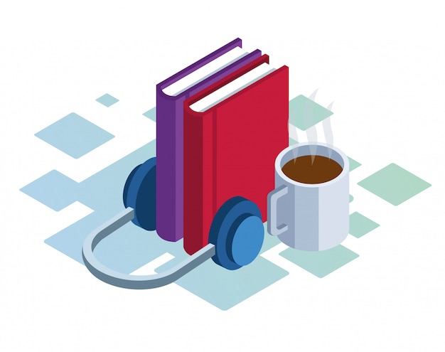 Headphones, books and coffee mug over white background, colorful isometric