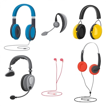 Headphones cartoon set isolated white