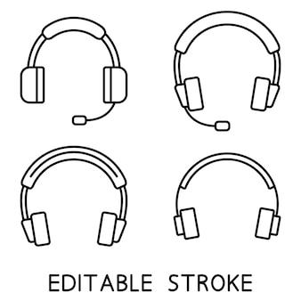 Headphones earphones outline icons set headset in silhouette headphones with microphone