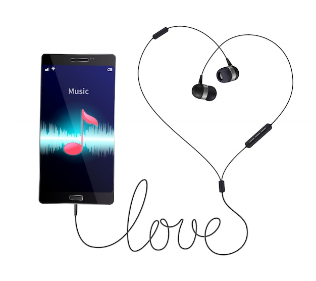 Headphones earphones realistic composition with wired in-ear phones connected to smartphone with music player application illustration