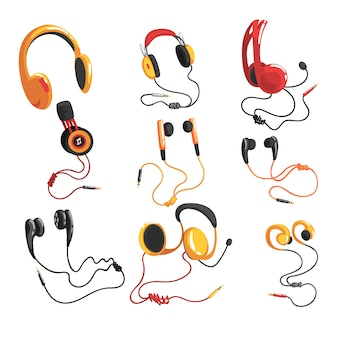 Headphones and earphones set, music technology accessory  illustrations on a white background