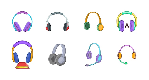 Headphones element set. cartoon set of headphones vector elements