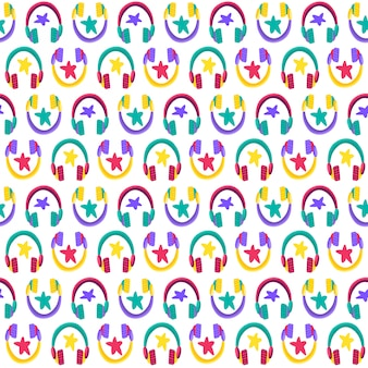 Headphones flat vector seamless pattern. listening to music. earphones cartoon