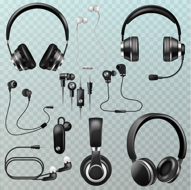Headphones headset and earphones stereo technology and audio dj equipment illustration set of realistic headgear digital gadget to listen to music isolated on transparent background