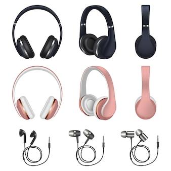 Headphones icon set, realistic style