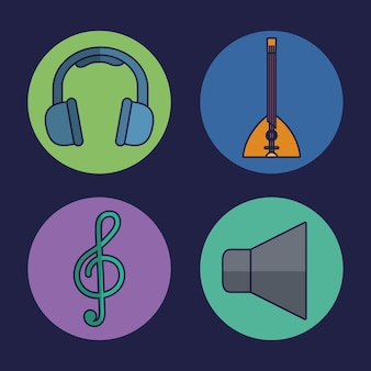 Headphones and music related icons