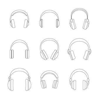 Headphones music speakers icons set