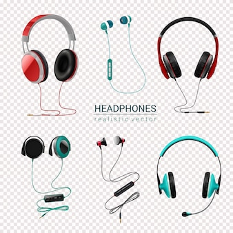 Headphones realistic set transparent