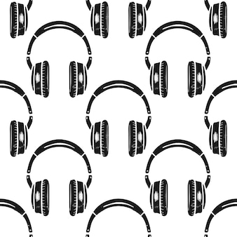 Headphones seamless pattern.