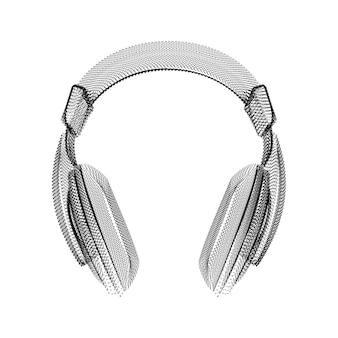 Headphones silhouette consisting of black dots and particles. 3d vector wireframe of an audio device with a grain texture. abstract geometric icon with dotted structure isolated on a white background