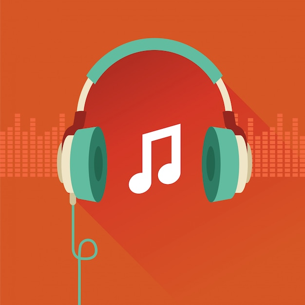 Headphones vector flat concept - music