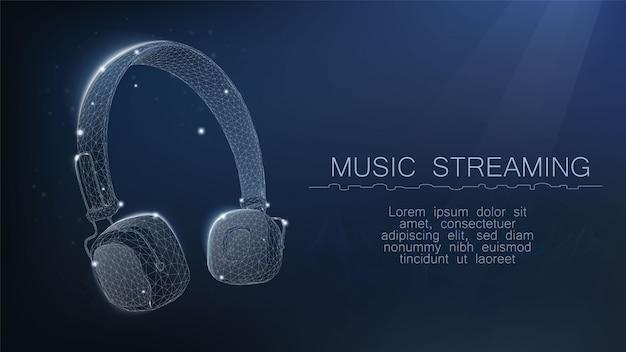 ワイヤレスヘッドフォン。音楽ストリーミングサービスのコンセプト。星の形の点、線、および形状で構成される、星空または空間の形の低ポリワイヤフレームメッシュ