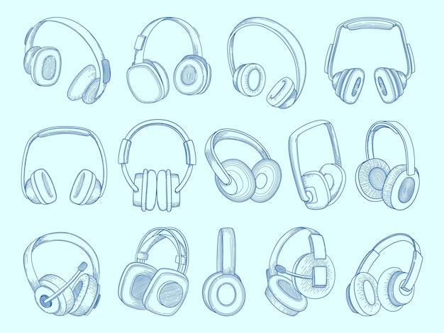 헤드폰. 무선 기술 통신 장비 음악 음향 헤드폰 스케치 세트.