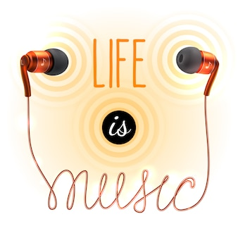 Headphones with life is music lettering
