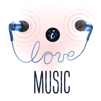 Headphones with love lettering