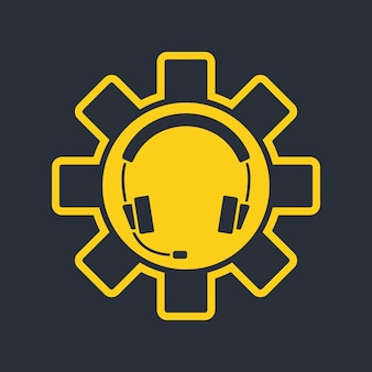 Headphones with microphone and support icon. hotline support service. agent user talking. headset icon. concept of consultation, telemarketing, assistance. vector illustration isolated