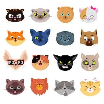 さまざまな感情を持つかわいい猫キャラクターの頭ベクトルを設定