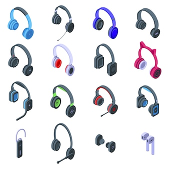 Headset icons set. isometric set of headset vector icons for web design isolated on white space