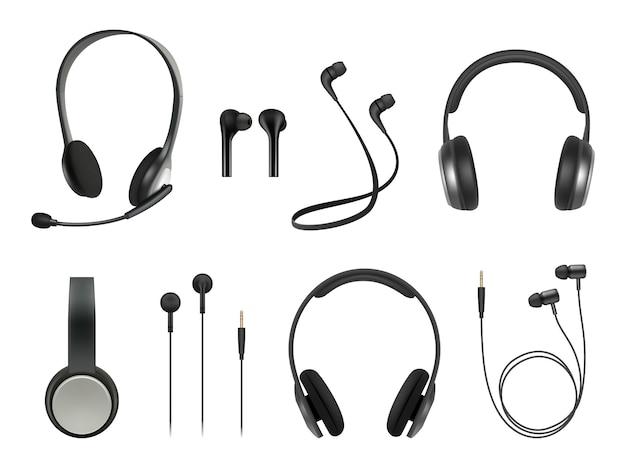 현실적인 헤드셋. 이어폰 음악 현대 장비 무선 헤드셋 컬렉션