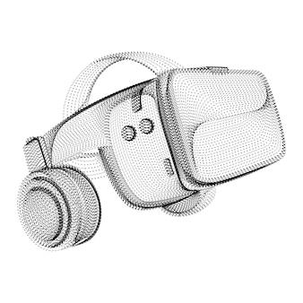 검은 점과 입자로 구성된 헤드셋 실루엣입니다. 그레인 텍스처가 있는 가상 현실 헬멧의 3d 벡터 와이어프레임. 흰색 절연 추상 점선 구조와 비디오 게임 장치 아이콘