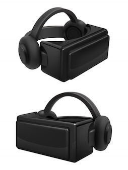 Headset and stereoscopic virtual reality goggles vector. realistic vr glasses and headphones isolated