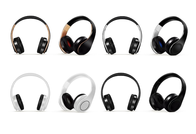 음악 소리를 듣기 위한 헤드셋 또는 스피커 헤드폰 세트. 현실적인 스테레오 무선 헤드 이어폰 오디오 장치, 흰색 배경에 고립 된 휴대용 스튜디오 장비 벡터 일러스트 레이 션