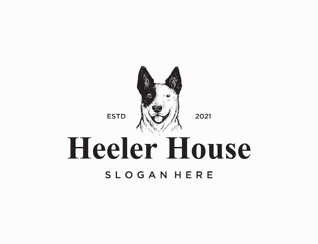 ヒーラー犬の手描きのロゴのテンプレート