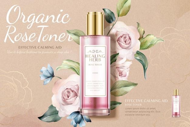 Рекламный тонер с лечебной травой и розой на фоне красивых акварельных роз в 3d иллюстрации