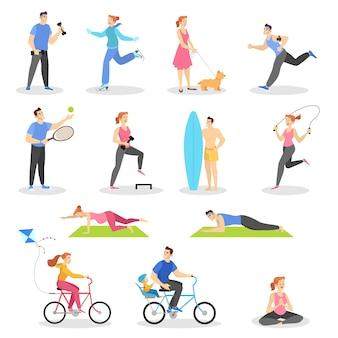건강한 라이프 스타일 세트. 야외 활동 및 스포츠 운동
