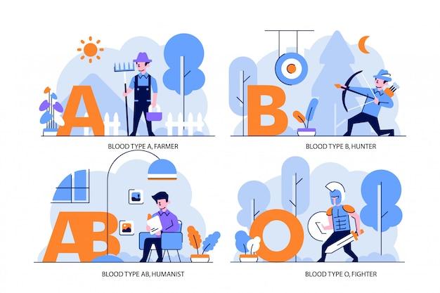 건강 및 의료 일러스트 플랫 및 개요 디자인 스타일, 혈액형 a 농부, b 헌터, ab 인본주의 자, o 파이터