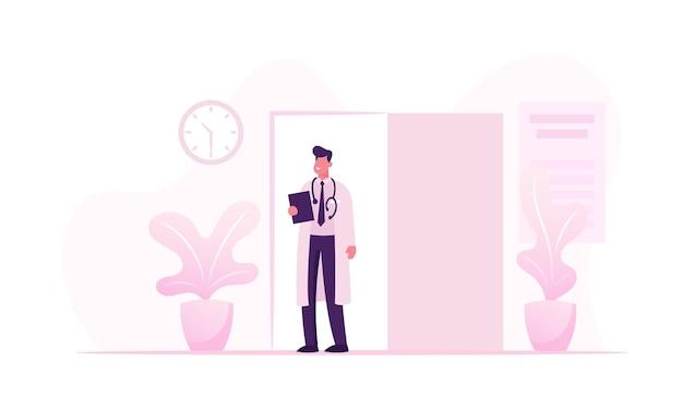 건강과 의학 개념 만화 평면 그림