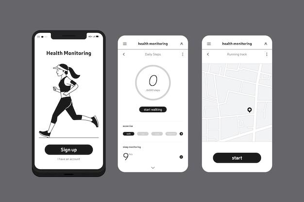 健康と実行中の携帯電話アプリ